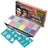 Halloween Face Paint Kit for Kids. X-Large Face Painting Set with 12 Stencils. Professional Party Palette 12 Colors, 2 Brushes, Glitter Gel, Online Guide. Safe Non-Toxic Water-Based. Covers 100s Faces