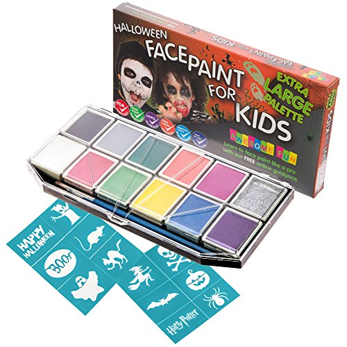 Halloween Face Paint Kit for Kids. X-Large Face Painting Set with 12 Stencils. Professional Party Palette 12 Colors, 2 Brushes, Glitter Gel, Online Guide. Safe Non-Toxic Water-Based. Covers 100s (Face Painting Kids Halloween)