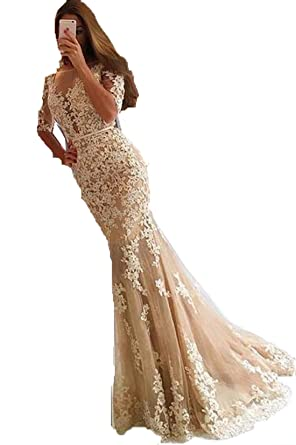 Speical Bridal Womens Mermaid Lace Prom Dresses Applique Lace Evening Dress: Amazon.co.uk: Clothing