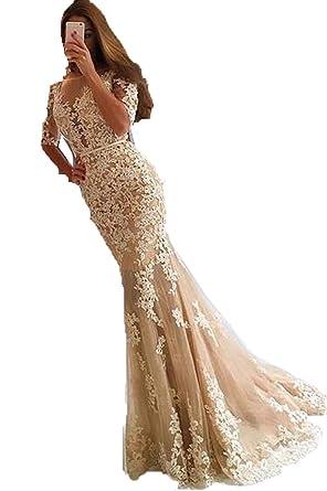0f2164300fd Speical Bridal Frauen Meerjungfrau Spitze Ballkleider Applique Spitze  Abendkleid  Amazon.de  Bekleidung