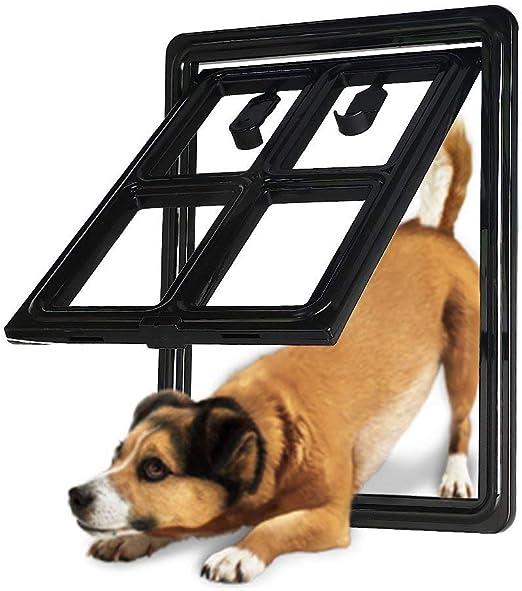 Puerta De Perro para Puerta Corredera De 4 Vías De Bloqueo Puerta De Gato Versión De Bloqueo Automático para Perros, Cachorros, Gatos: Amazon.es: Hogar