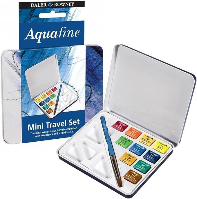 Daler Rowney D131900910 Set Metálico de Viaje de Acuarela Aquafine, con 10 Colores Surtidos (10 Medio Godets) y Pincel: Amazon.es: Oficina y papelería
