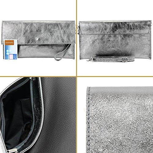 modamoda de - Made in Italy - Cartera de mano para mujer M151 Dunkelblau Metallic