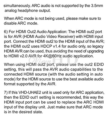 ViewHD UHD 18G HDMI Audio Extractor/Splitter Support HDMI v2.0   HDCP v2.2   4K@60Hz   HDR   ARC   3.5MM Analog Audio Output   Toslink Optical Audio Output   HDMI Audio Output   Model: VHD-UHAE2 by ViewHD (Image #8)