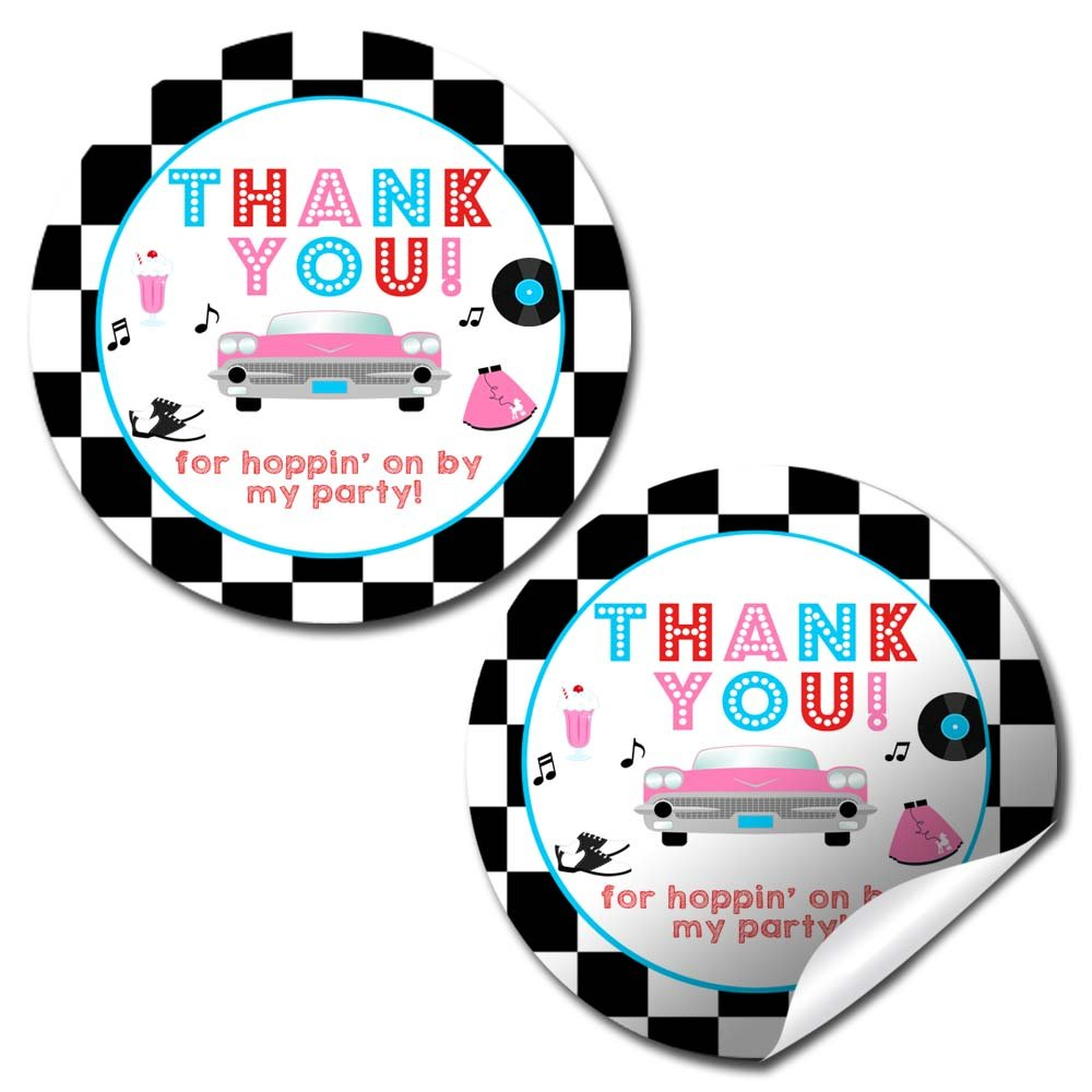 50's Sock Hop Thank You Sticker Labels 20 2 Party Circle Stickers by AmandaCreation Great for Party Favors Envelope Seals Goodie Bags