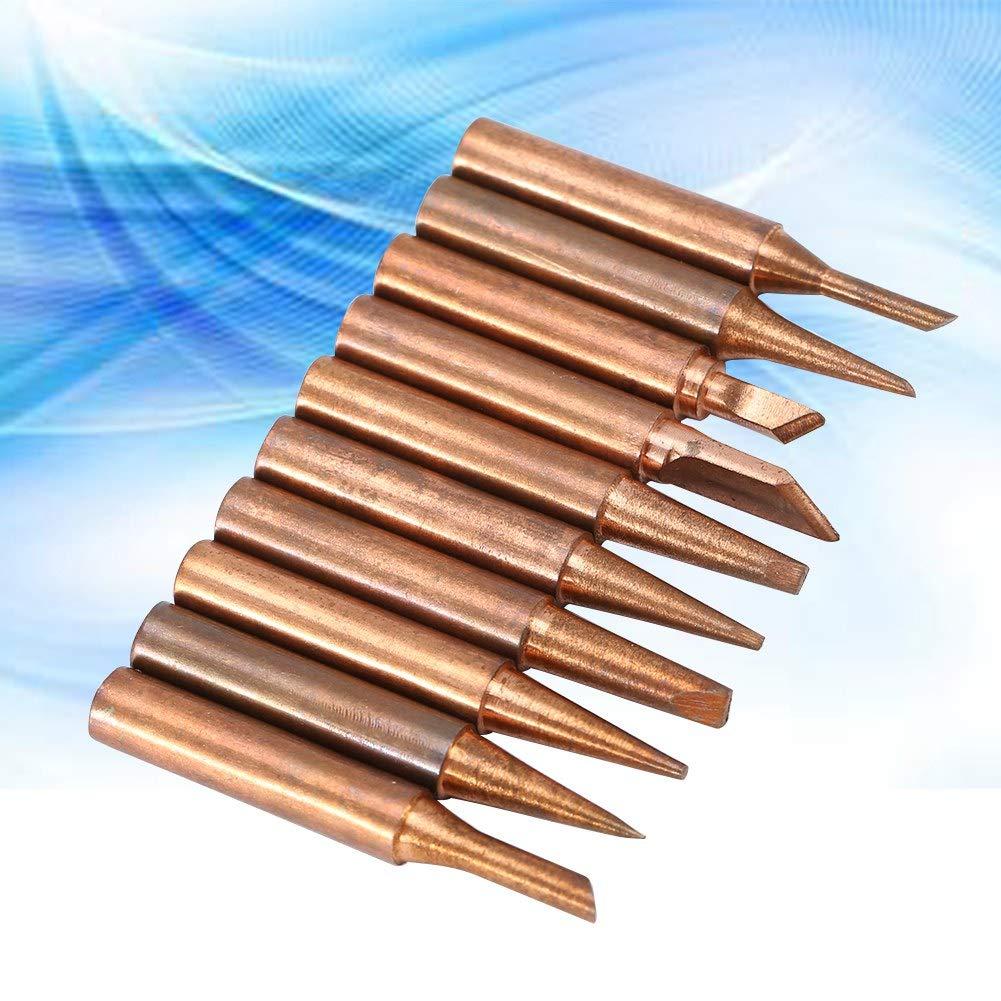 Panne /à souder 10pcs 900M-T 42mm Diamagnetic sans plomb Cuivre Fer Panne /à souder pour 936//937//938//969//8586 Stations de soudure pour soudure /à basse temp/érature