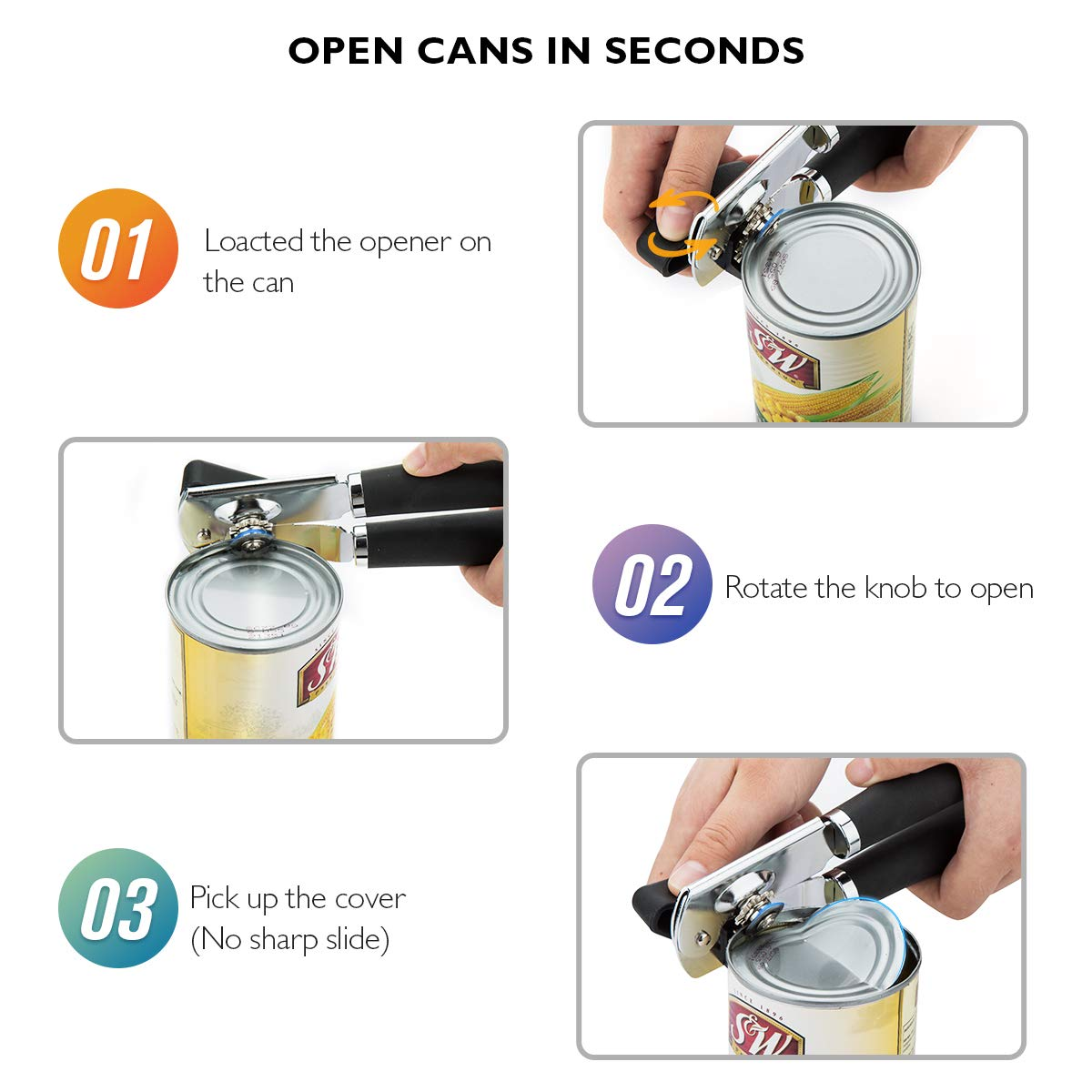 Can Opener Manual Heavy Duty Can Openers Smooth Edge 3-In-1 With Ergonomic Non-slip Rubber Soft Handle Easy Turn Ultra Sharp by LDIRECTOR (Image #6)