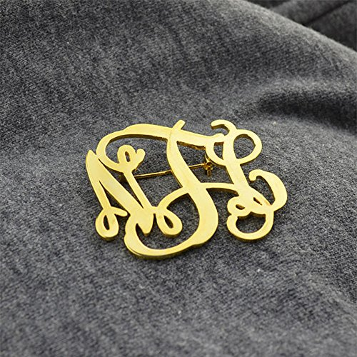 AOCHEE Name Brooch Personalized 3 Initial Brooch Custom Monogram Letter Pins Jewelry (Gold) by AOCHEE (Image #3)
