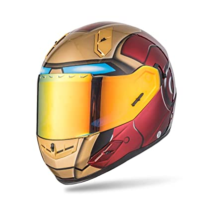 NENKI Full Face Iron Man Motorcycle Helmet For Adult and Youth Street Bike with Iridium Red
