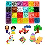 Water Fuse Beads Kit - 24 Colors Mega Bead Set Compatible with Aquabeads and Beados Art Crafts Toys for Kids Over 3000 Classic and Craft Beads Complete Set (24 Colors Shape A)