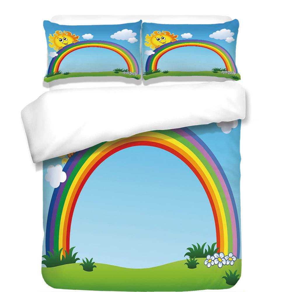 iPrint 3Pcs Duvet Cover Set,Rainbow,Fun Sun Holding Rainbow on Green Hill with Clear Sky Child Friendly Image Decorative,Sky Blue Multicolor,Best Bedding Gifts for Family/Friends
