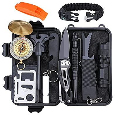 Emergency Survival Gear Kit 12 in 1, EMDFORCE Professional Outdoor Survival Tools with Bracelet Fire Starter Whistle Flashlight Tactical Pen Compass for Camping Hiking Hunting Travelling from EMDFORCE