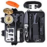 Emergency Survival Gear Kit 12 in 1, EMDFORCE Professional Outdoor Survival Tools with Bracelet Fire Starter Whistle Flashlight Tactical Pen Compass for Camping Hiking Hunting Travelling