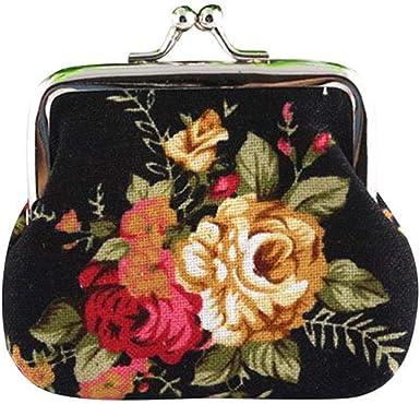 Women Flowers Heart Buckle Coin Purses Kiss-lock Wallet
