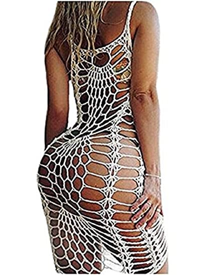 4f16456e2b355 Farktop Women s Sexy Bikini Covers Knitted Crochet Tunic Cover up Beach  Dress Swimwear