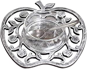 Zion Judaica Antique Silver and Glass 4 Piece Honey Dish - Apple Shape