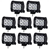 Lightfox 8Pcs 18W 4Inch CREE Flood LED Light Bar LED Pods Fog Light Waterproof Work Lights Off Road Lights 4WD...