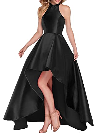 6b1eb32bd4 DYS Women s Prom Homecoming Dresses High Low Halter Formal Evening Dress  Lace up Black ...
