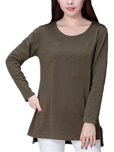 Kerlana Blusa Mujer Camiseta Cuello Redondo Mangas Largas Casual Elegante Blouses Color Sólido T Shi...