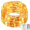 8 Modes String Lights, GDEALER 33ft 100LED Copper Wire Starry String Lights Battery Powered with Remote Control for Outdoor, Indoor, Wedding, Christmas Party warm white(Battery NOT INCLUDED)