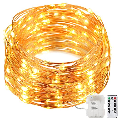 [GDEALER 8 Modes String Lights 33ft 100LED Copper Wire Fairy Starry String Lights Battery Powered with Remote Control for Outdoor, Indoor, Christmas Waterproof warm white(Battery NOT INCLUDED)] (Outdoor Halloween Ideas)