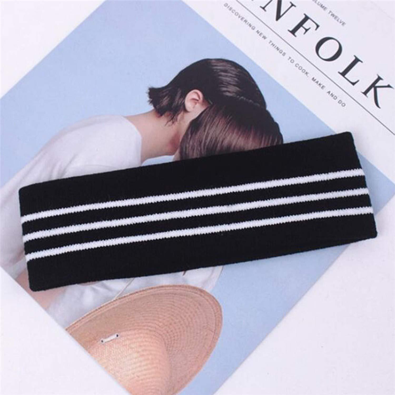 Striped Headband For Women Men Sport Head Band Elasticity Knitting Turban Sweat Proof Hair Band,D