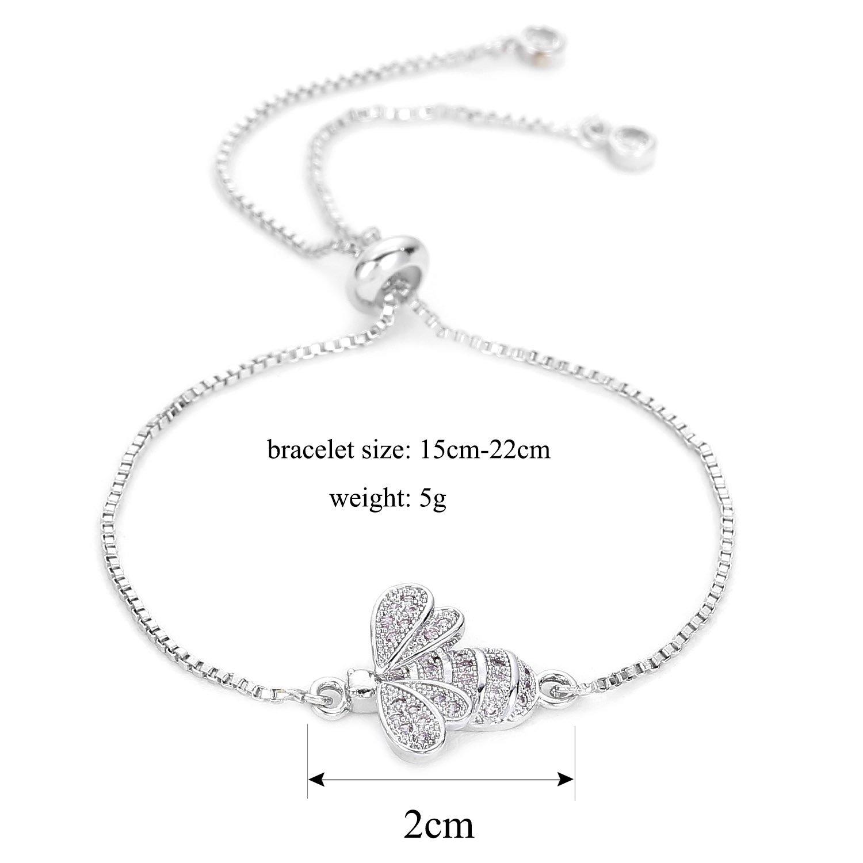 POSHFEEL Gold/Sliver CZ Bee Bracelet Handmade Micro Pave Chain Adjustable Strand for Women Girls Silver ABR180017SR