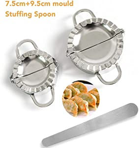 3 Pcs Stainless Steel Dumplings Maker Set, cutter pastry dumpling maker 7.5 cm+9.5cm 2 Dumpling Molds 1 Stuffing Spoon, Pastry Cutter set Chinese Dumpling Cutter Pie Ravioli Empanadas Press Mold