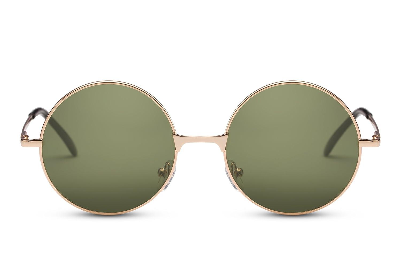 Cheapass Sonnebrille Rund John Lennon Gold Verspiegelt Retro Unisex