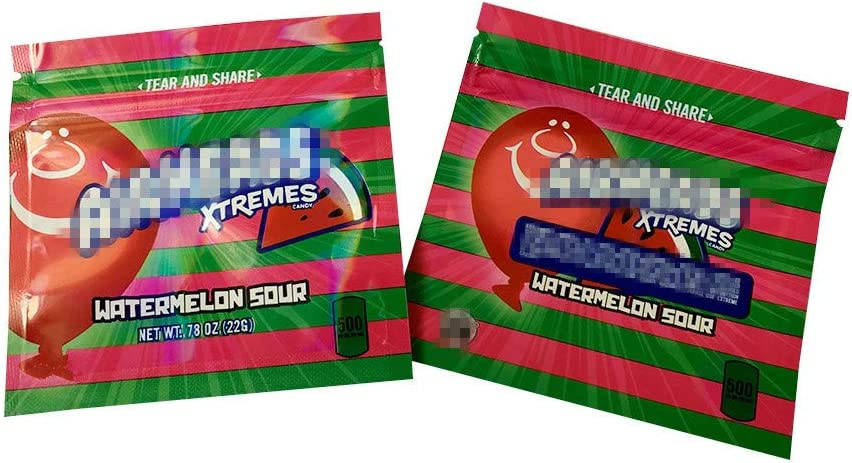 Mr.Ma Rich Mylar Bags Smellproof Ziplock Resealable Heatseal Bags No Labels/Empty bag (25, Watermelon Sour 4x4in)