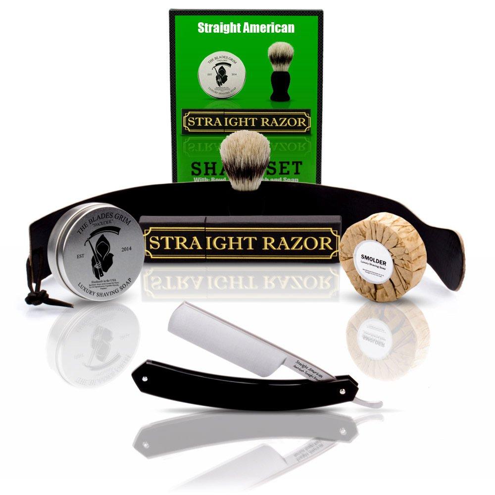Straight American, Straight Razor with Full Shaving Set ~Shave Ready~