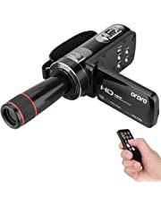 ORDRO HDV-Z8 1080P Full HD Digital Video Camera Camcorder 16× Digital Zoom Digital Rotation LCD Touch Screen Max. 24 Mega Pixels Support Face Detection with 12× Telephoto Lens