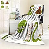 Fleece Blanket 300 GSM Anti-static Super Soft cartoon reptile animals parent with baby collection brightly colored childish Warm Fuzzy Bed Blanket Couch Blanket(60''x 50'')