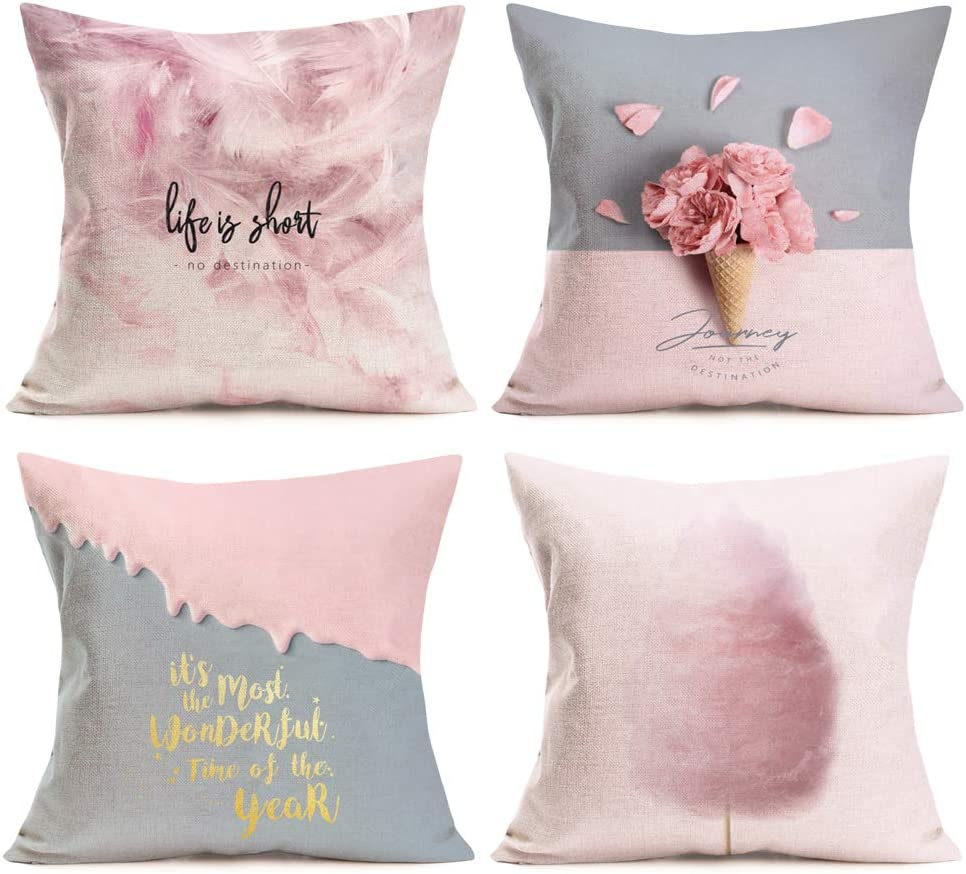 Asamour 4 Pack Lovely Girly Pink Series Throw Pillow Covers Cotton Linen Pink Feather Marshmallow Ice-Cream Rose with Warm Letters Home Decor Pillowcase Cushion Cover for Girls Womens 18x18 Inch