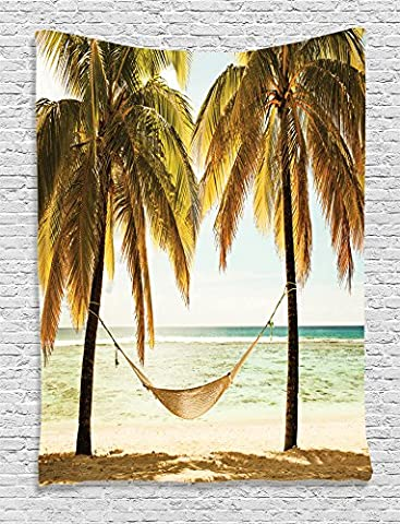Ambesonne Beach Hammock Decor Collection, Seascape Hammock Palm Trees on Shore Tropical Beach Sunset Picture, Bedroom Living Kids Girls Boys Room Dorm Accessories Wall Hanging Tapestry, Yellow - Christmas Tree Tapestry