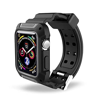 Apple Watch 4 Case and Band 44mm, 2win2buy Shockproof Rugged Armor Protective Bumper Cover with Ventilation Hole Replacement Strap Bands Compatible ...