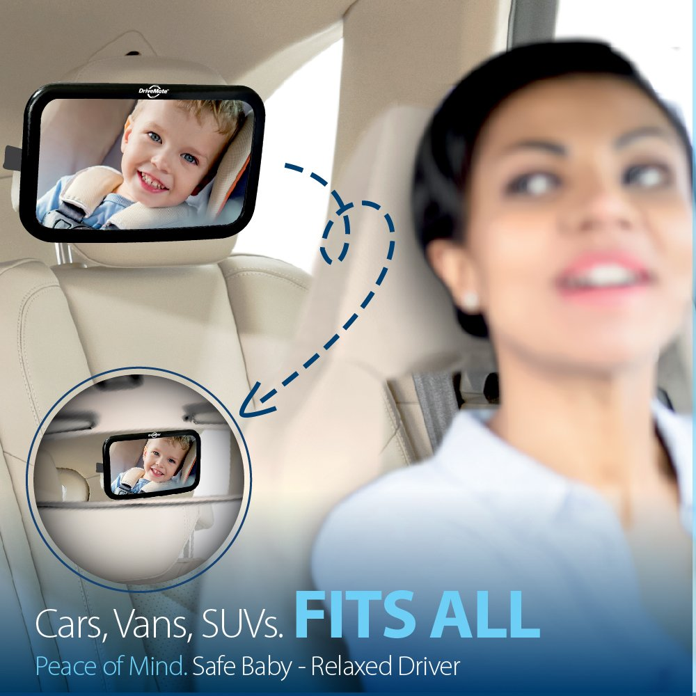 Adjustable Nylon Straps DriveMate Quick Glance Baby Car Mirror Toddlers Shatterproof Safety Glass Wide Angle Fits Cars Backseat Rear View Clarity SUVs Babies Trucks Large