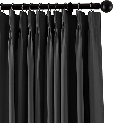 TWOPAGES Pinch Pleated Curtain Fireproof Flame Retardant Thermal Insulated Curtain Drapery. 120 W x 96 L, Black, 1 Panel
