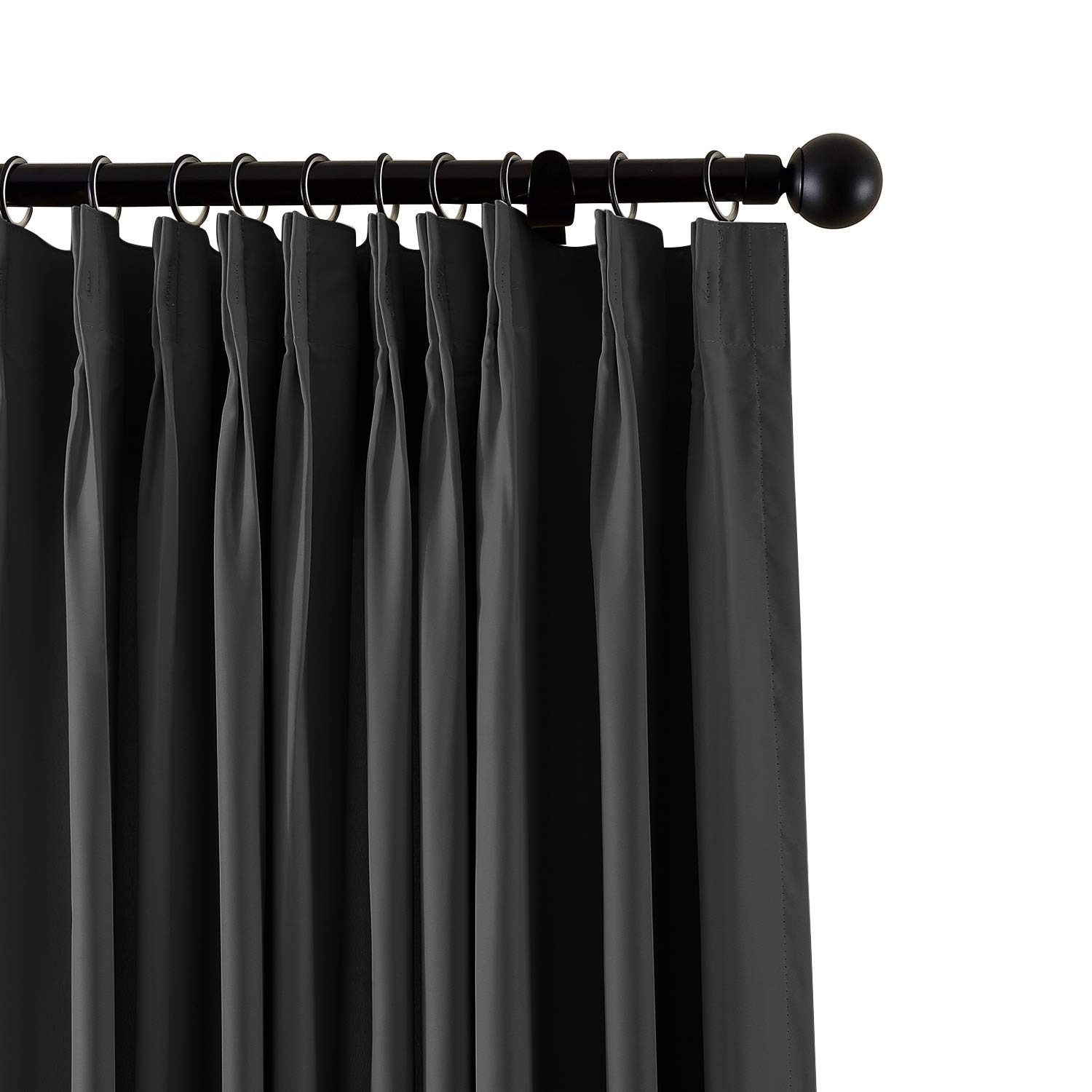ChadMade Fireproof Flame Retardant Thermal Insulated Curtain Drapery Panel Pinch Pleat, Black 72'' W x 120'' L Home, Office, Hotel, School, Cinema Hospital (1 Panel), Exclusive