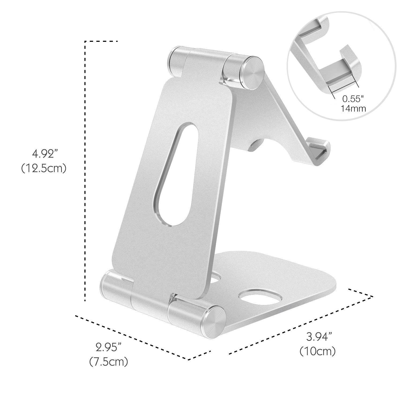 MoKo Phone//Tablet Stand Universal 210 Degree Foldable Adjustable Aluminum Desktop Holder Fit with New iPad Air 3rd Gen iPad Mini 5th Gen iPad pro 10.5//9.7 iPhone X//8//8 Plus Galaxy S9//S9 Plus Black
