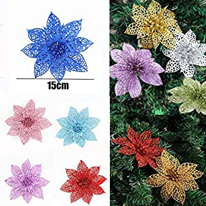 CANAFA-Home & Kitchen Artificial Flowers 10Pcs/Set Christmas Flowers Trees Xmas Decor Glitter Wed Birthday Party 15cm 45