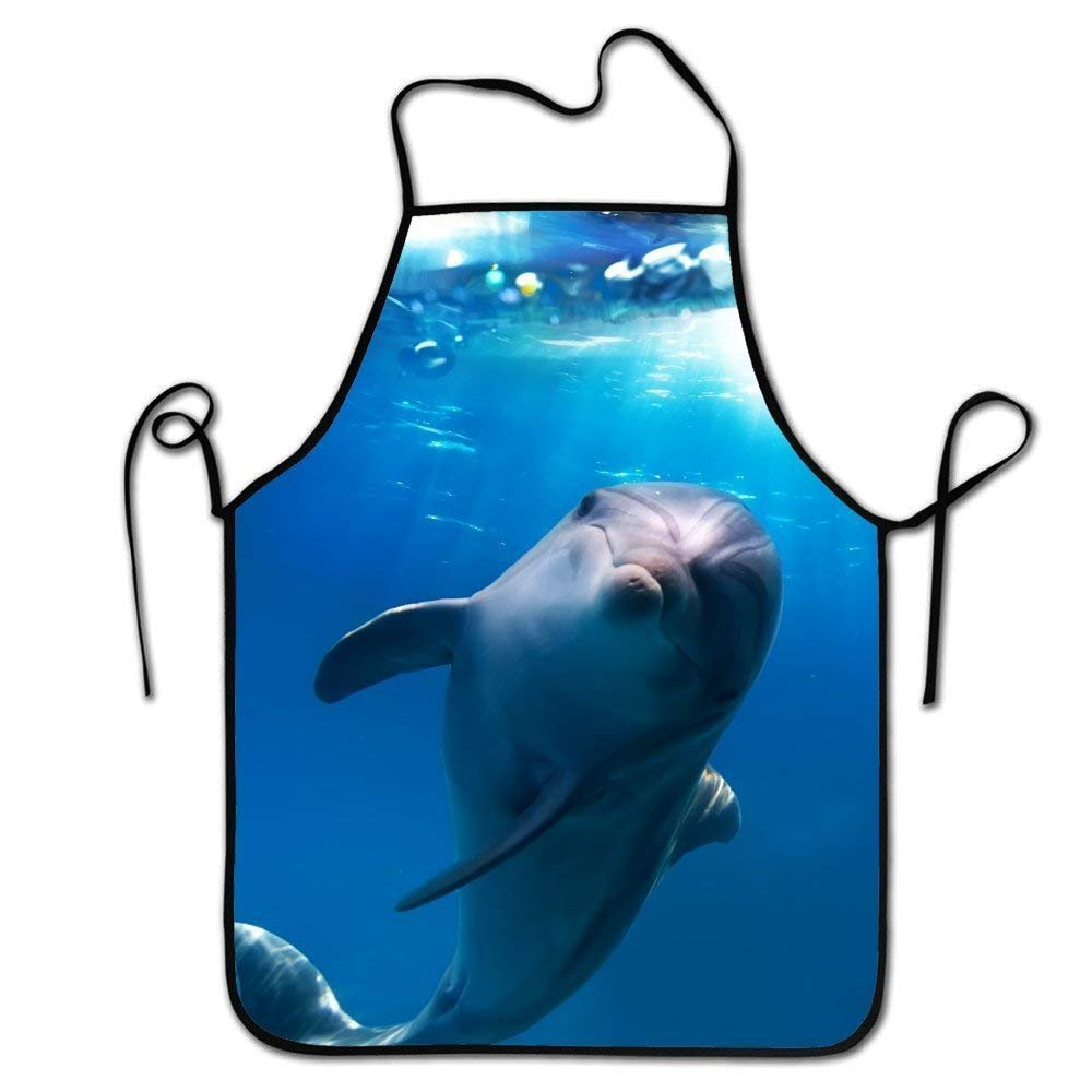 ファッションシェフエプロン、メンズ&レディースエプロンの料理、ベーキング、工芸、ガーデニング、bbq-cute Dolphin   B07G256R7N