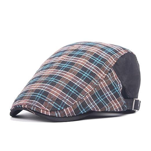 baf62a5676e AET Cap Men s British Plaid Visor Cotton Newsboy Cap Beret Hat at Amazon  Men s Clothing store