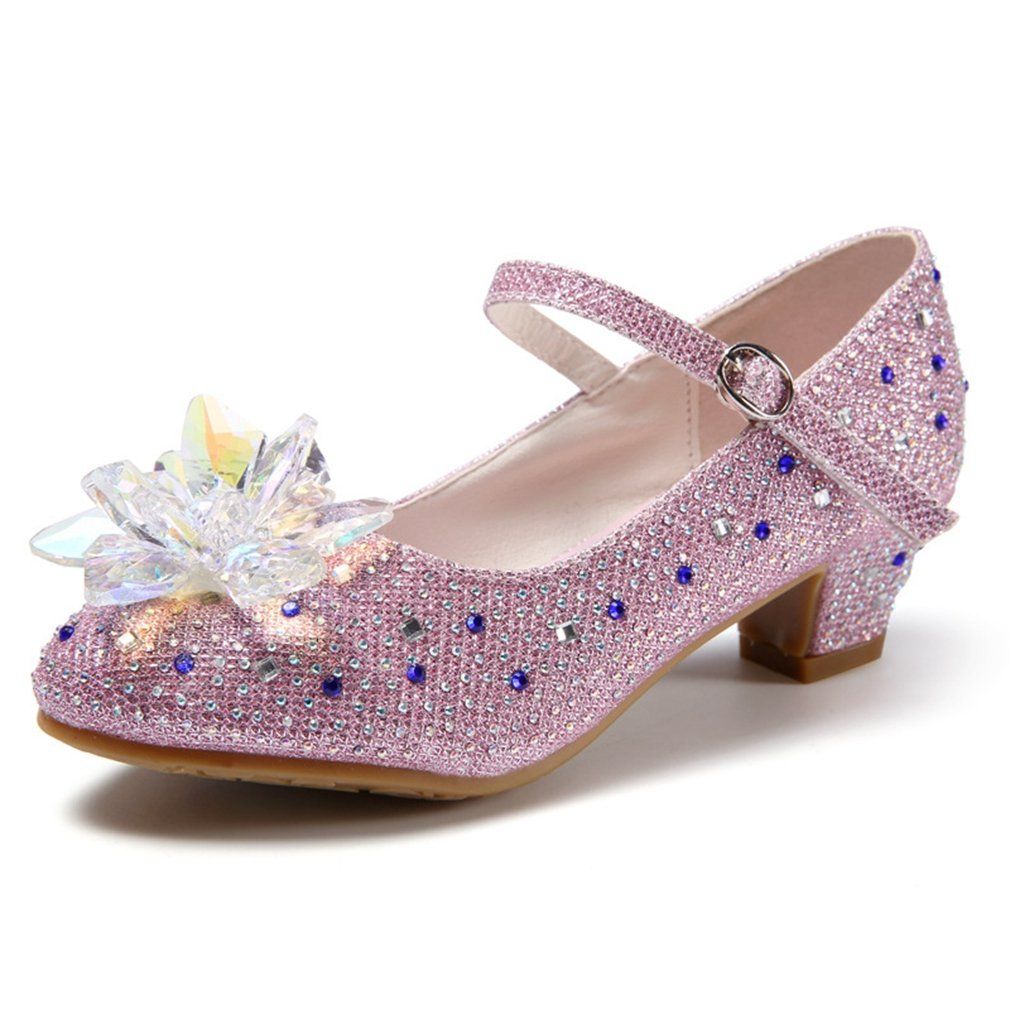CYBLING Girl's Adorable Sparkle Mary Jane Crystal Accent Low Heels Princess Dress Shoes