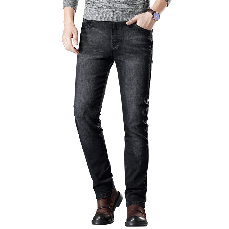 Mistoms Elastic Slim Trousers Jean Male Fashion Casual Denim Stretch Jeans Black Size 40