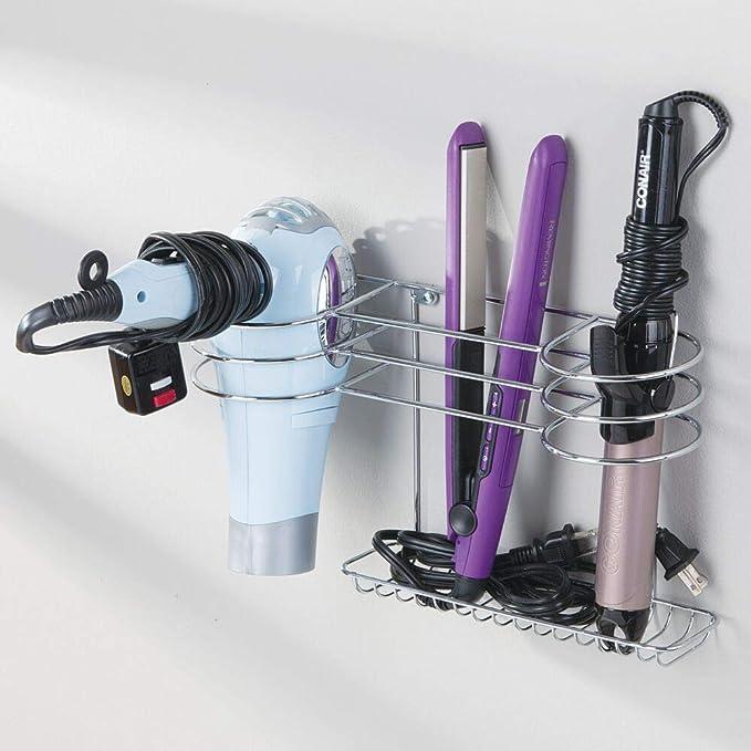 mDesign Soporte para secador de pelo para colgar en la pared - Ideal para artículos de peluquería como el secador o el rizador - Repisa de baño de metal con ...