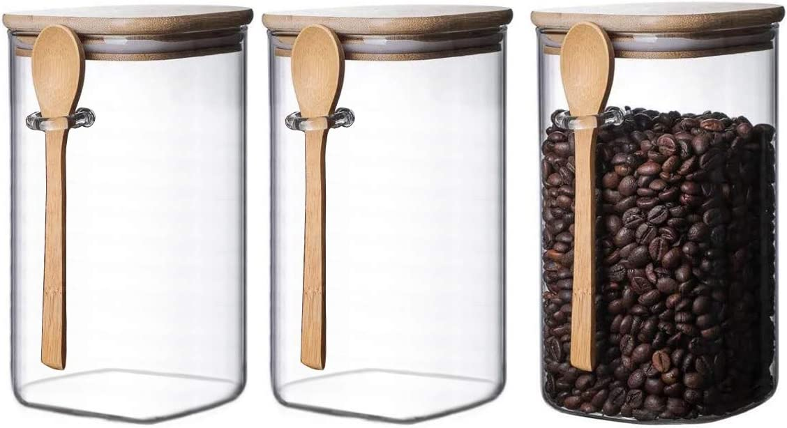 3 Pc Clear Square Glass Storage Jar with Bamboo Lids With bamboo Spoons - Airtight Food Jars - Glass Kitchen Containers for Pantry, Countertop { Size 7 X 4 X 4 Inch } 48 OZ
