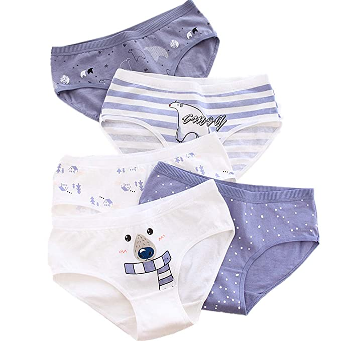 b76072e40a8 YOMORIO Girl's Cute Bear Panties Women Anime Striped Underwear for Bikini  Cartoon Cotton Briefs