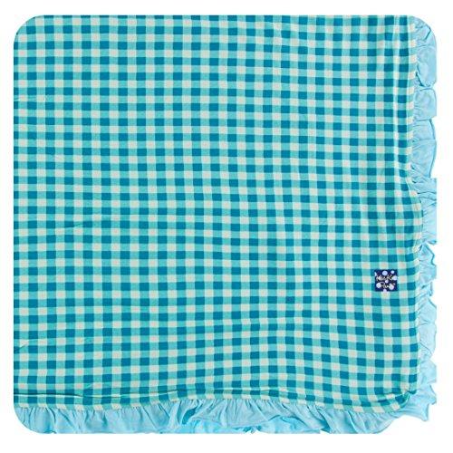 Kickee Pants Little Girls Print Ruffle Toddler Blanket - Pistachio Gingham, One Size - Gingham Ruffle Pant