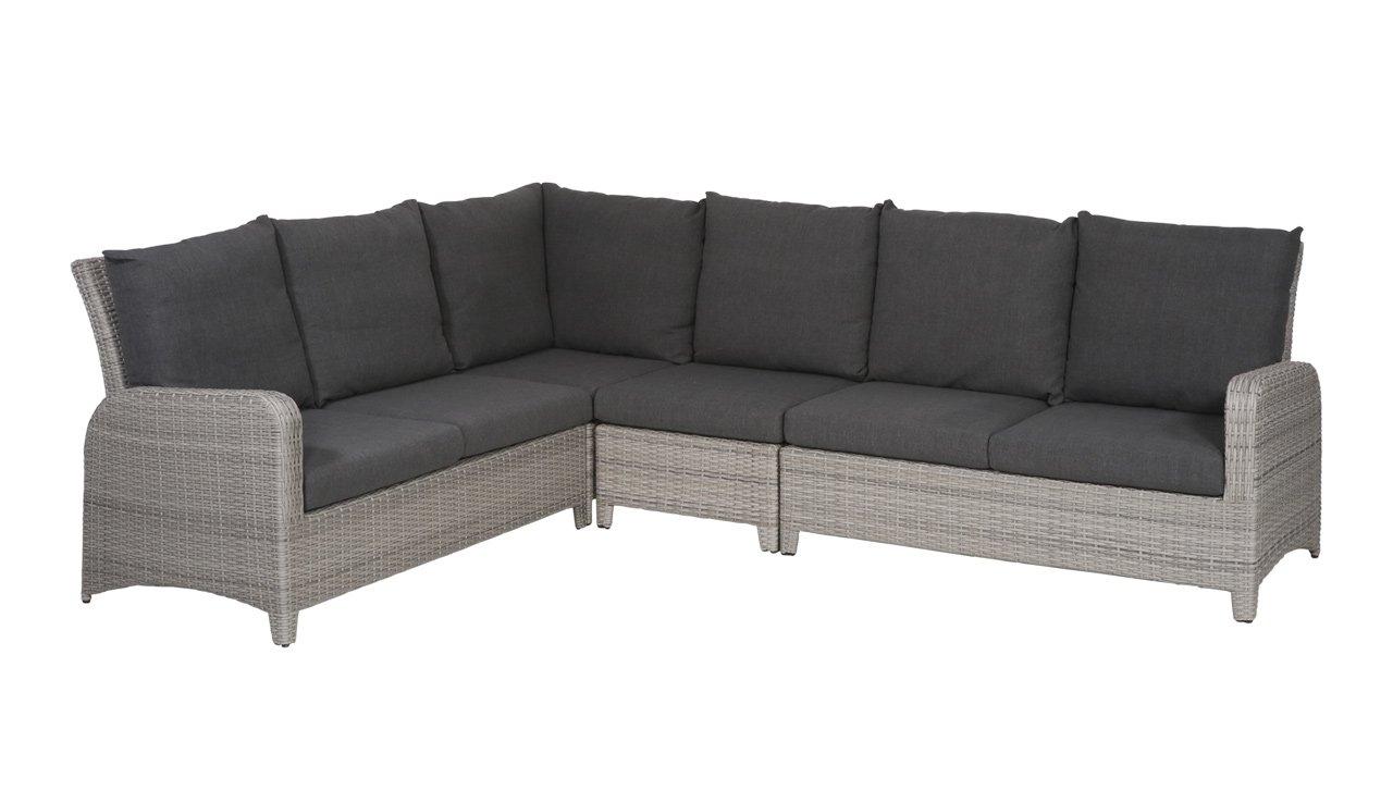 lifestyle4living Gartenbank 5 Sitzer aus Polyrattan Geflecht grau inkl. Kissen in anthrazit. Die Loungebank ist wetterfest, ideal für Garten, Terrasse und Balkon.